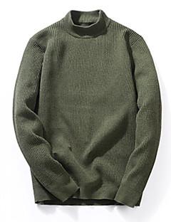 baratos Suéteres & Cardigans Masculinos-Homens Diário Básico Sólido Manga Longa Padrão Pulôver Verde Tropa / Khaki / Azul Real XL / XXL / XXXL