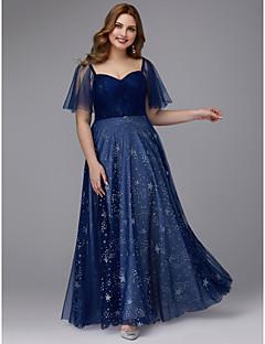billiga Balklänningar-A-linje Hjärtformad urringning Golvlång Tyll Glitter och glans Klänning med Korsvis av TS Couture® / Bal