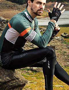 billige Sykkelklær-SANTIC Herre Langermet Sykkeljersey - Hvit Grønn Reaktivt Trykk Sykkel Jersey, Pustende Elastan Terylene / Elastisk