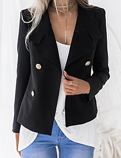 billige Blazere og jakker til damer-Dame Daglig Forretning Vår & Vinter Normal Blazer, Ensfarget Skjortekrage Langermet Polyester Hvit / Svart L / XL / XXL / Tynn