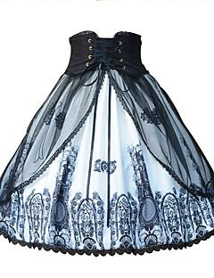billiga Lolitamode-Söt Lolita Klassisk / Traditionell Lolita Traditionellt / Vintage Gothic Style Chiffong Dam Kjolar Cosplay Svart Kostymer