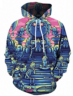 baratos Abrigos e Moletons Masculinos-Homens Activo / Moda de Rua Tamanhos Grandes Solto Calças - 3D / Desenho Animado Estampado Azul / Com Capuz / Manga Longa / Outono / Inverno