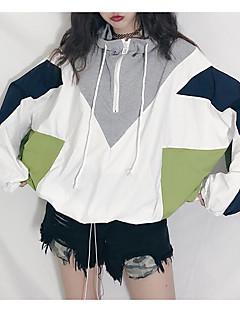 baratos Moletons com Capuz e Sem Capuz Femininos-hoodie solto de manga longa feminina - bloco de cor com capuz