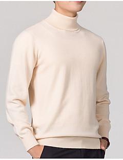 baratos Suéteres & Cardigans Masculinos-Homens Básico / Temática Asiática Pulôver - Sólido