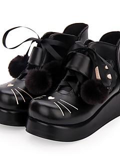 billiga Lolitamode-Punk Kilklack Skor Broderi 5 cm CM Svart Till PU-läder / Polyuretan Läder Halloweenkostymer