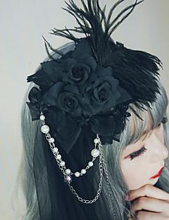 billiga Lolitamode-Lolita Accessoarer Hårspännen Vintage Gotiskt Dam Svart / Grå / Röd Konst Dekor Blommig Vintage Huvudbonad Oäkta pärla Denimduk Legering Kostymer