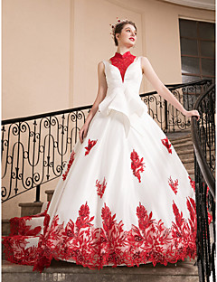 billiga Brudklänningar-Balklänning Hög hals Ankellång Satäng Bröllopsklänningar tillverkade med Bård / Applikationsbroderi av LAN TING Express