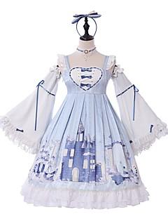 billiga Lolitaklänningar-Söt Lolita Klassisk / Traditionell Lolita Söt Lolita Prinsess Lolita Chiffong Dam Klänningar Cosplay Ljusblå Fjäril Långärmad Knälång Kostymer