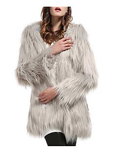 billiga Dampälsar och läder-Dam Utekväll Normal Faux Fur Coat, Enfärgad Kraglös Långärmad Fuskpäls Vit / Svart / Grå XL / XXL / XXXL