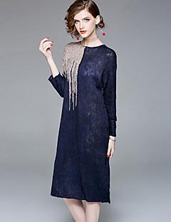 Χαμηλού Κόστους Sweater Dresses-Γυναικεία Μπόχο / Εκλεπτυσμένο Φαρδιά Παντελόνι - Μονόχρωμο Patchwork Θαλασσί / Δουλειά