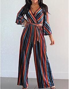 billige Jumpsuits og sparkebukser til damer-kvinners jumpsuit - stripet høy midje bred bein dyp v