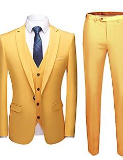 tanie Garnitury-Solidne kolory Dopasowana Poliester Garnitur - Wycięcie Pojedynczy Breasted One-button