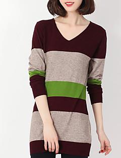 tanie Swetry damskie-Damskie Codzienny Moda miejska Kolorowy blok Długi rękaw Długie Pulower, W serek Brązowy L / XL / XXL