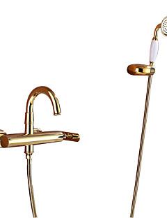 billige Sidesray-Badekarskran - Art Deco / Retro Ti-PVD Badekar Og Dusj Keramisk Ventil Bath Shower Mixer Taps / Enkelt håndtak tre hull