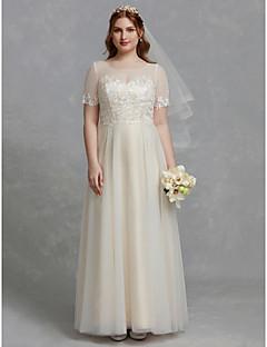 billiga Plusstorlek brudklänningar-A-linje Prydd med juveler Golvlång Spets / Tyll Bröllopsklänningar tillverkade med Applikationsbroderi / Spets / Spetsinlägg av LAN TING BRIDE®