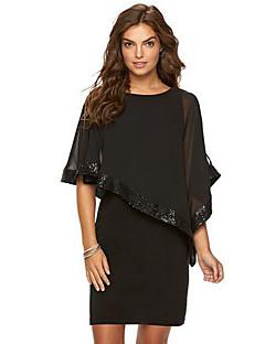 fe5decd2465 Women s Plus Size Going out Sophisticated Chiffon Dress - Solid Colored  Sequins Summer Black Dark Blue Wine XL XXL XXXL