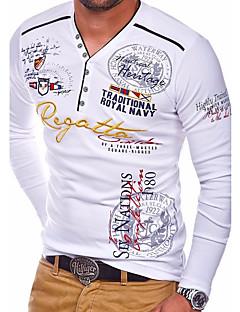 levne Pánské módní oblečení-Pánské - Geometrický Základní Tričko