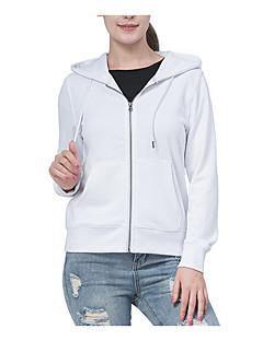 tanie Damskie bluzy z kapturem-damska bluza bawełniana z długimi rękawami - jednolity kolor z kapturem w kolorze białym xs