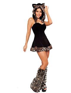 billige Halloweenkostymer-Dyremønster Sko Kostume Santa Clothe Dame Voksne Halloween Jul Jul Halloween Karneval Festival / høytid Terylene Polyester Drakter Svart Leopard