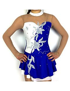 Eiskunstlaufkleid Damen   Mädchen Eislaufen Kleider Blau   weiß Patchwork  Elasthan Hochelastisch Wettbewerb Eiskunstlaufkleidung Klassisch Langarm ... 36979a8bc5