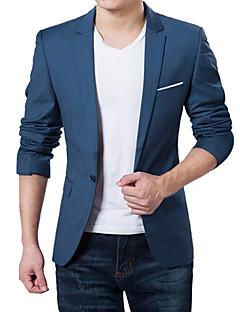 billige $20-$25-Herre Daglig / Arbeid Vår / Høst Store størrelser Normal Blazer, Ensfarget V-hals Langermet Akryl / Polyester Mørkeblå / Grå / Vin 4XL / XXXXXL / XXXXXXL / Bedriftsformell / Tynn