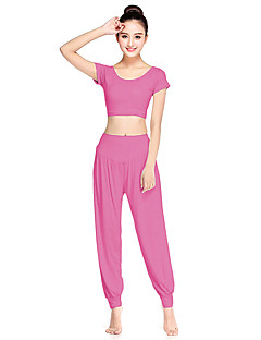 6a01d010f9 Women s Harem Yoga Suit Light Red Green Pink Sports Solid Color Spandex Crop  Tee Bottoms Clothing Suit Zumba Dance Running Short Sleeve Activewear ...