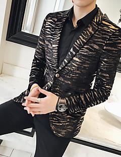 cheap Men's Outerwear-Men's Party Regular Blazer, Geometric Notch Lapel Long Sleeve Polyester Print Gold 54 / 56 / 58