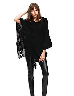 baratos Suéteres de Mulher-Mulheres Diário Moda de Rua Sólido Meia Manga Solto Padrão Capa / Capes, Decote V Preto / Khaki M / L