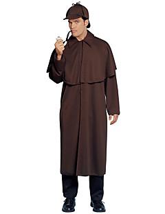 tanie Kostiumy filmowe i telewizyjne-Sherlock Holmes Płaszcz Kostiumy z filmów Kawowy Płaszcz Święta Halloween Nowy Rok Poliester