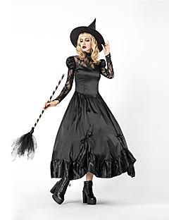 billige Halloweenkostymer-Trollmann / heks Dame Voksen Voksne Halloween Jul Jul Halloween Karneval Festival / høytid Drakter Svart Ensfarget Jul