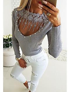 baratos Suéteres de Mulher-Mulheres Diário Moda de Rua Sólido Manga Longa Padrão Pulôver Azul / Cinzento M / L / XL