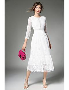 billige Kjoler til spesielle anledninger-A-linje Besmykket Ankellang Blonder Kjole med Blondeinnlegg av