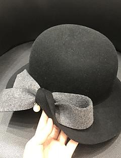 billiga Lolitaaccessoarer-Elizabeth Den underbara fru Maisel Felt hattar hatt damer Retro / vintage Dam Brun / Rosa / Röd Färgblock Vintage Keps Ull Kostymer