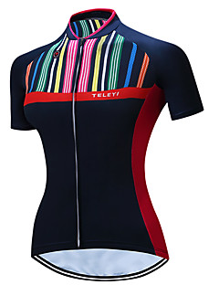 44a0f72a3 TELEYI Women s Short Sleeve Cycling Jersey - Black Solid Colored Stripe Bike  Jersey Breathable Quick Dry Sports Polyester Mountain Bike MTB Road Bike ...