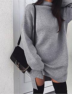 tanie Swetry damskie-Damskie Codzienny Podstawowy Solidne kolory Długi rękaw Długie Pulower Rumiany róż / Szary / Khaki L / XL / XXL