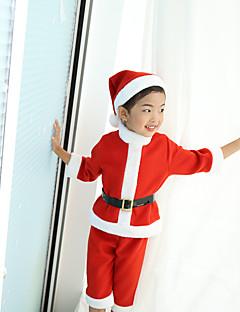 billige julen Kostymer-Julkjole Santa Clothe Unisex Barn Jul Jul Festival / høytid Plysj-stoff Drakter Lys Rød Ferie Jul