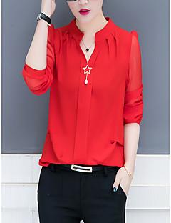 billige Bluse-damebluse - solid farvet v-hals