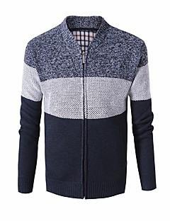 tanie Męskie swetry i swetry rozpinane-Męskie Codzienny Solidne kolory Długi rękaw Regularny Sweter rozpinany Niebieski / Czerwony / Szary L / XL / XXL