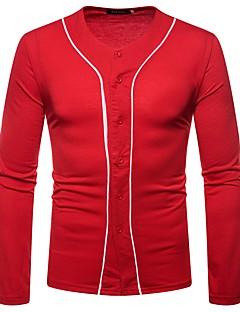 tanie Męskie swetry i swetry rozpinane-Męskie Codzienny Podstawowy Solidne kolory Długi rękaw Regularny Sweter rozpinany, W serek Zima Czerwony / Fioletowy / Jasnoszary L / XL / XXL