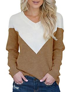 baratos Suéteres de Mulher-Mulheres Diário Moda de Rua Sólido Manga Longa Padrão Pulôver, Decote V Outono / Inverno Preto / Vermelho / Khaki M / L / XL