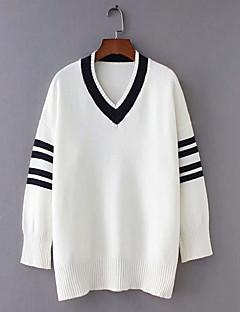 tanie Swetry damskie-Damskie Codzienny Moda miejska Prążki Długi rękaw Regularny Pulower, W serek Biały / Granatowy Jeden rozmiar