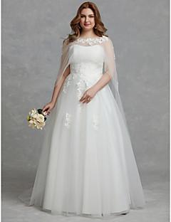 billiga Plusstorlek brudklänningar-A-linje Axelbandslös Golvlång Tyll Bröllopsklänningar tillverkade med Applikationsbroderi / Spets av LAN TING BRIDE® / Vacker i svart