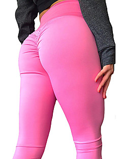 billiga Träning-, jogging- och yogakläder-Dam Ruched Butt Lifting Yoga byxor - Rosa, Violet t, Aprikos sporter Ensfärgat Hög midja Cykling Tights / Leggings Fitness, Gym, Träna Sportkläder Push up-byxor, Butt Lift, Magkontroll Elastisk