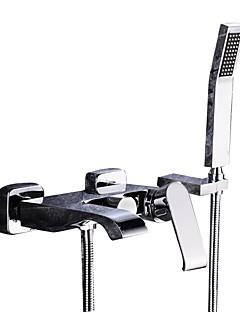 baratos Cascata-Torneira de Banheira - Moderna Cromado Montagem de Parede Válvula Cerâmica Bath Shower Mixer Taps / Duas alças de três furos