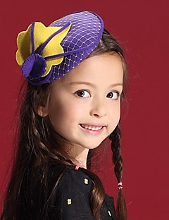 billiga Lolitamode-Elizabeth Den underbara fru Maisel Fascinator Hat Hårnålar Retro / vintage Flickor Purpur Blomma Keps Ull Tyll Kostymer / Barn