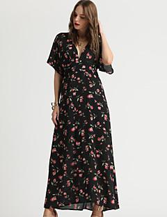 Χαμηλού Κόστους Suzanne Betro-Γυναικεία Κομψό Flare μανίκι Swing Φόρεμα - Φλοράλ, Στάμπα Μακρύ