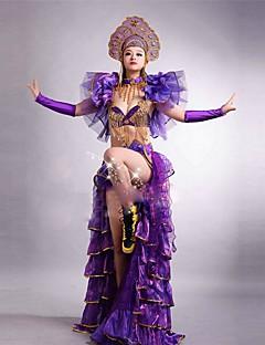 billige Halloween- og karnevalkostymer-Spansk Lady Kostume Dame Voksne Flamenco Halloween Karneval Maskerade Festival / høytid Tyll Kunstige Edelstener Drakter Gul / Blå / Fuksia Blomster / botanikk