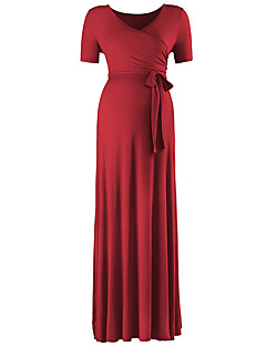 baratos Vestidos-Mulheres Elegante Bainha Vestido Sólido Longo