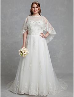 billiga Plusstorlek brudklänningar-A-linje Prydd med juveler Hovsläp Spets / Tyll Bröllopsklänningar tillverkade med Kristalldetaljer / Spets av LAN TING BRIDE® / Vacker i svart