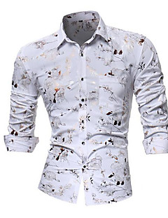 cheap Men's Tops-Men's Club Luxury Asian Size Slim Shirt - Floral Spread Collar